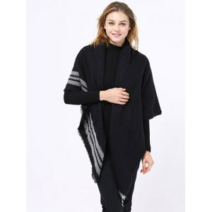 Winter Stripe Pattern Fringed Shawl Wrap Pashmina - BLACK