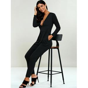 Low Cut Long Sleeve Jumpsuit -