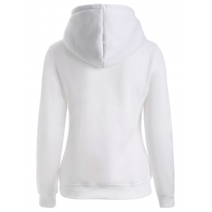 Letters Print Double-Pocket Design String Hoodie - WHITE XL