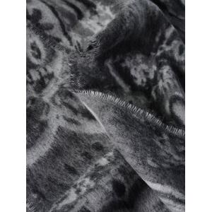 Winter Ethnic Mural Pattern Fringed Shawl Scarf - GRAY