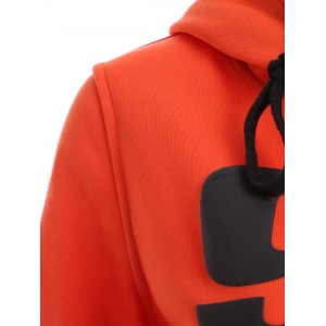 Letters Print Double-Pocket Design String Hoodie -