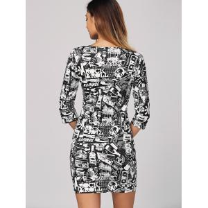 Mini rock Rouleau graphique Robe moulante - Multicolore XL