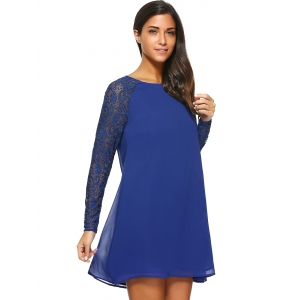 Lace Sleeve Single Breasted Dress -