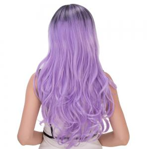 Long Side Bang Wavy Purple Ombre Cosplay Synthetic Wig -