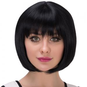 Short Natural Straight Neat Bang Bob Synthetic Wig -