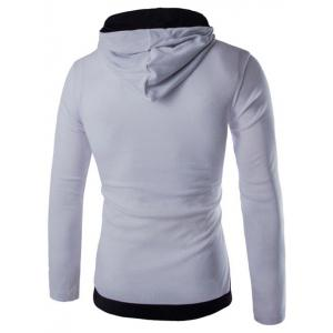 Contrast Trim Drawstring Pullover Hoodie - WHITE 2XL