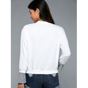 Splicing Long Sleeve Sweatshirt - WHITE L