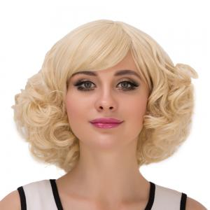 Short Inclined Bang Curly Heat Resistant Fiber Wig -