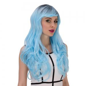 Long Side Bang Wavy Water Blue Gradient Cosplay Synthetic Wig - COLORMIX