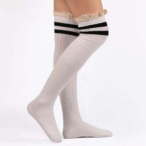 Casual Lace Edge Double Stripe Pattern Autumn Stockings - WHITE