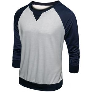 Crew Neck Color Block Raglan Sleeve Sweatshirt - CADETBLUE 2XL