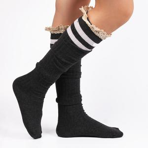Casual Lace Edge Double Stripe Pattern Autumn Stockings - DEEP GRAY