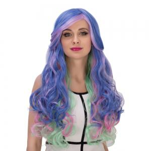 Long Side Bang Wavy Colorful Cosplay Synthetic Wig - COLORMIX