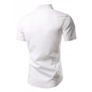 Slimming Turn-Down Collar Short Sleeve Shirt -