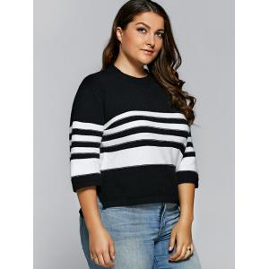 Striped Side Slit Pullover Knitwear -
