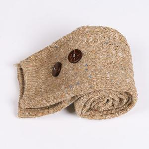 Casual Buttons Snowflake Point Knit Stockings - LIGHT KHAKI