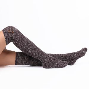 Casual Buttons Snowflake Point Knit Stockings - DEEP PURPLE