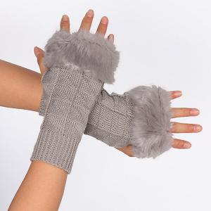 Casual Faux Fur Edge Plaid Knit Fingerless Gloves - LIGHT GRAY