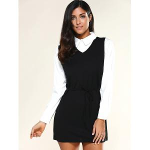 V Neck Drawstring Dress + Long Sleeve Shirt - BLACK XL