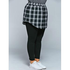 Slimming Plaid Faux Twinset Pants - BLACK 4XL
