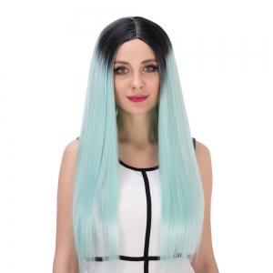 Double Color Long Centre Parting Straight Stunning Cosplay Synthetic Wig -