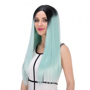 Double Color Long Centre Parting Straight Stunning Cosplay Synthetic Wig - COLORMIX