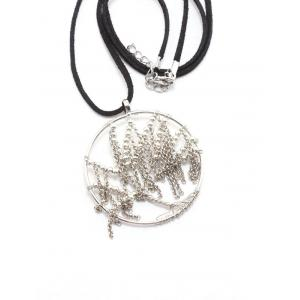 Faux Leather Velvet Life Tree Necklace -