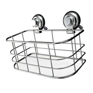 Home Decor Wall Sucker Stainless Steel Storage Basket -