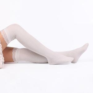 Casual Lace Edge Knit Stockings - WHITE