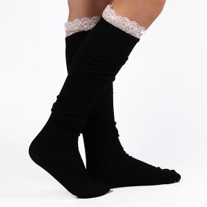 Casual Lace Edge Knit Stockings - BLACK