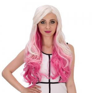 Long Side Bang Wavy Multicolor Cosplay Synthetic Wig - COLORMIX