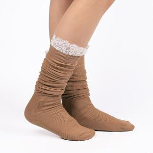 Casual Lace Edge Knit Stockings -
