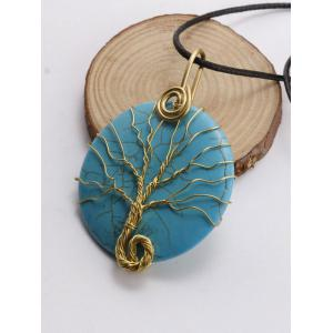Faux Turquoise Life Tree Circle Necklace - BLACK