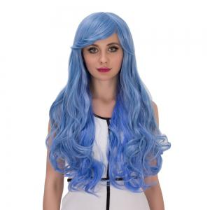 Long Side Bang Wavy Cosplay Synthetic Wig - BLUE