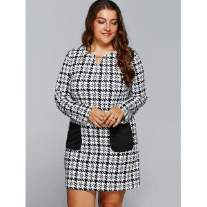 Houndstooth Print Long Sleeve Shift Dress with Pocket - WHITE/BLACK 5XL