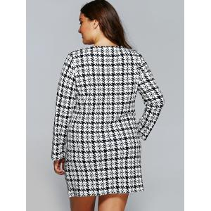 Houndstooth Long Sleeve Shift Tunic Dress -