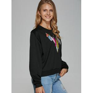 Colorful Feather Long Sleeve Sweatshirt -