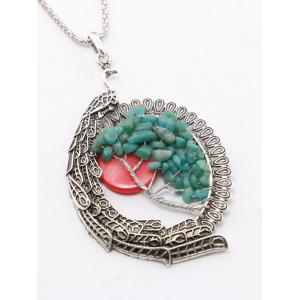 Natural Stone Peacock Feather Life Tree Necklace - SILVER