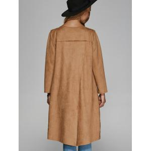 Collarless Double Pockets Coat -