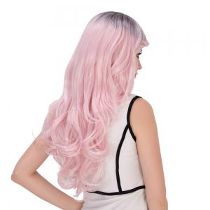 Long Side Bang Wavy Water Pink Gradient Cosplay Synthetic Wig -