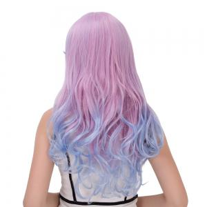 Long Oblique Bang Wavy Double Color Cosplay Synthetic Wig - BLUE/PINK