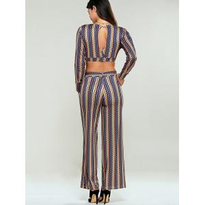 Stripe Wide Leg Pants With Open Back Crop Top -