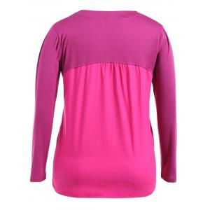 Plus Size Zipper Buttons Long Sleeve T-Shirt -