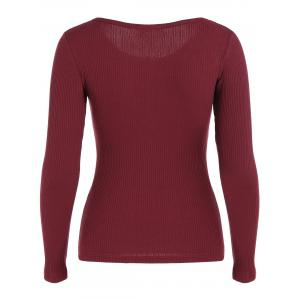 Buttoned Long Sleeve Knitwear - WINE RED S