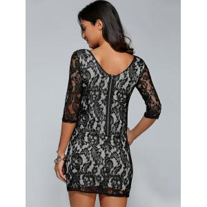 Short Lace Bodycon Cocktail Dress with Sleeves - BLACK XL