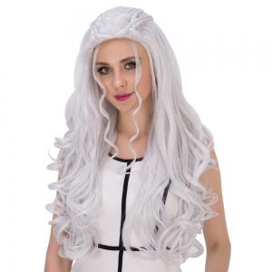 Long Shaggy Wavy Cosplay Synthetic Wig - SILVER WHITE