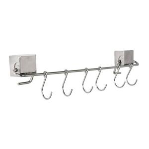 Home Decor Wall Hanger Stainless Steel 6 Hooks Rack - SILVER