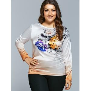 Plus Size Flower Printed Ombre Satin T-shirt -