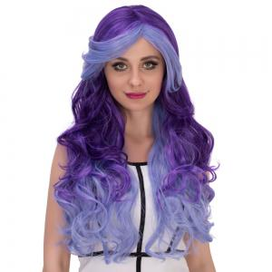 Multicolor Cosplay Long Side Bang Wavy Synthetic Wig -