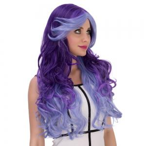 Multicolor Cosplay Long Side Bang Wavy Synthetic Wig - COLORMIX